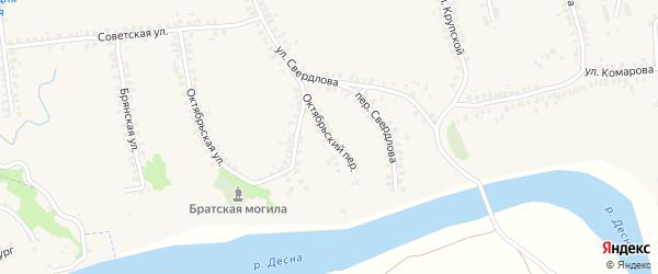 Октябрьский переулок на карте деревни Городцы с номерами домов