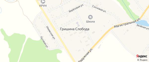 Молодежный микрорайон на карте деревни Гришиной Слободы с номерами домов