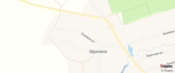 Полевая улица на карте деревни Шуклино с номерами домов