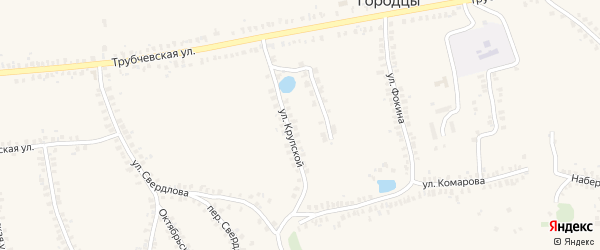 Улица Крупской на карте деревни Городцы с номерами домов
