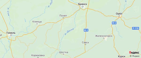 Карта Трубчевского района Брянской области с городами и населенными пунктами