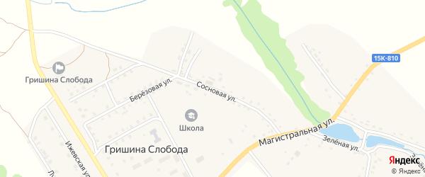 Сосновая улица на карте деревни Гришиной Слободы с номерами домов