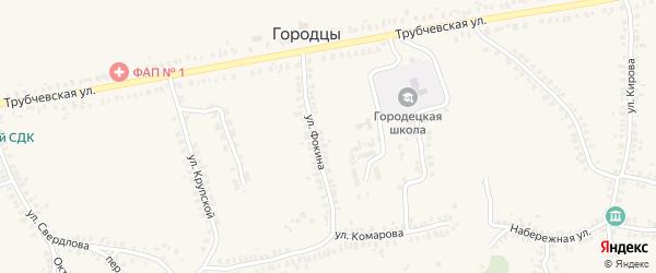 Улица Фокина на карте деревни Городцы с номерами домов