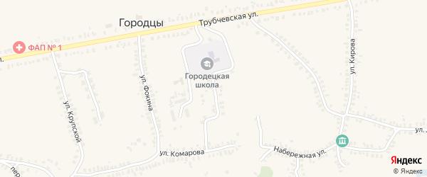 Переулок Комарова на карте деревни Городцы с номерами домов