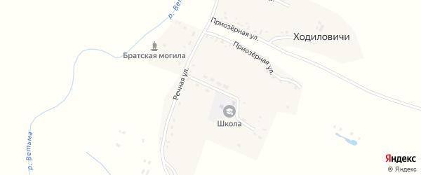 Школьная улица на карте деревни Ходиловичи с номерами домов