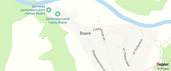 Овражная улица на карте села Вщижа с номерами домов