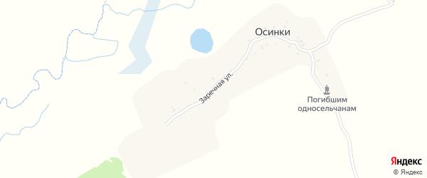 Заречная улица на карте деревни Осинки с номерами домов