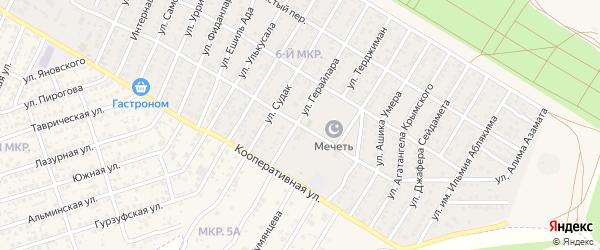 Улица Куприна на карте Бахчисарая с номерами домов