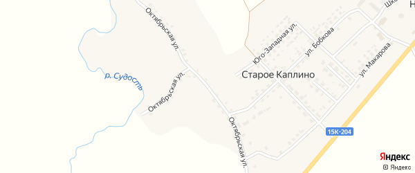 Октябрьская улица на карте деревни Старое Каплино с номерами домов