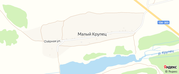 Озерная улица на карте села Малого Крупца с номерами домов