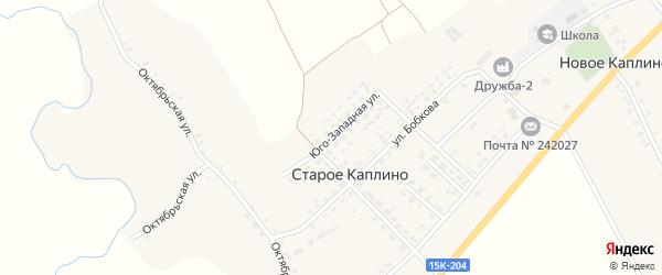 Юго-Западная улица на карте деревни Старое Каплино с номерами домов