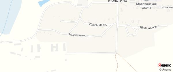 Овражная улица на карте деревни Молотино с номерами домов