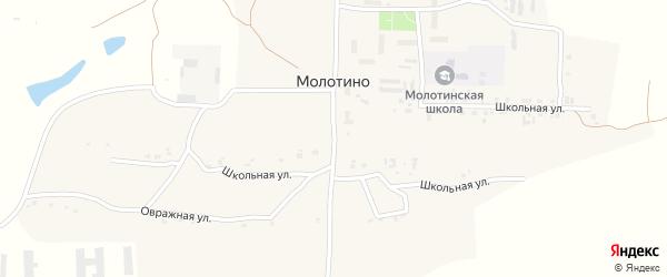 Школьная улица на карте деревни Молотино с номерами домов