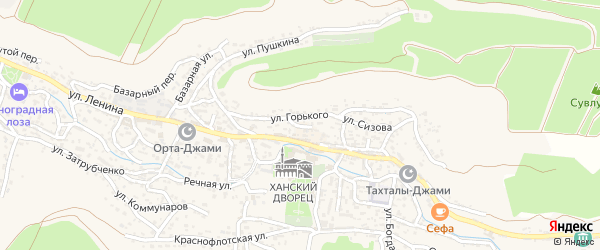 Улица Карла Либкнехта на карте Бахчисарая с номерами домов