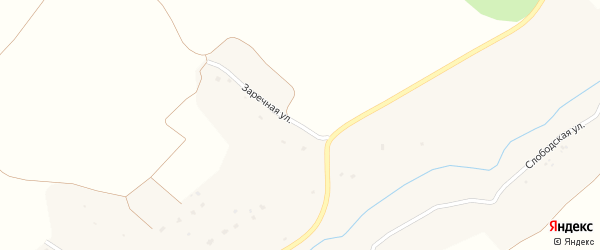 Заречная улица на карте села Овстуга с номерами домов