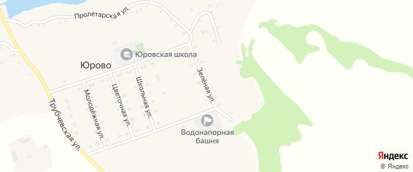 Зеленая улица на карте села Юрово с номерами домов