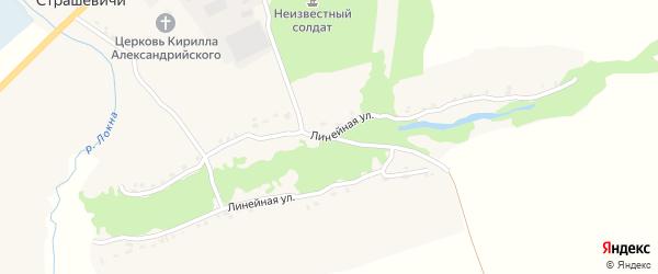 Линейная улица на карте села Страшевичи с номерами домов