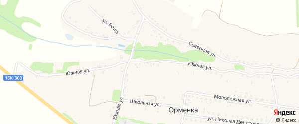 Южная улица на карте деревни Орменки с номерами домов