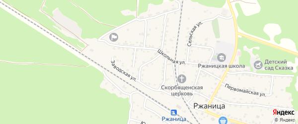 Треугольная улица на карте села Ржаницы с номерами домов