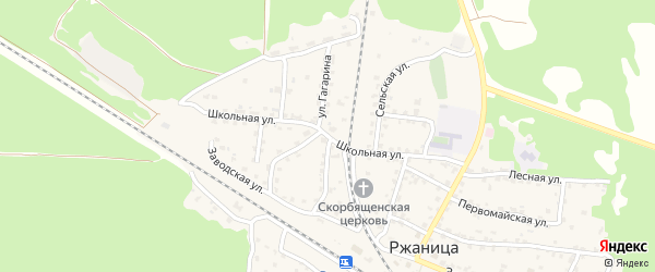 Школьная улица на карте села Ржаницы с номерами домов