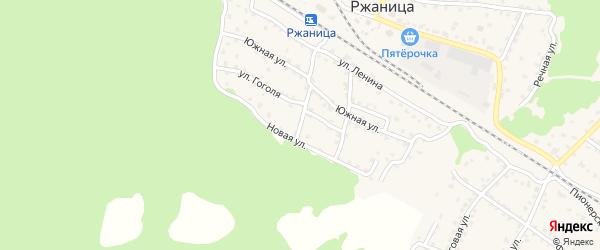 2-й Южный переулок на карте села Ржаницы с номерами домов