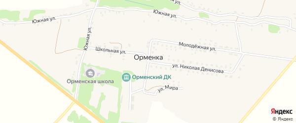 Парковая улица на карте деревни Орменки с номерами домов