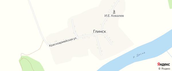 Красноармейская улица на карте деревни Глинска с номерами домов