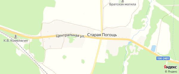 Центральная улица на карте деревни Старой Погощи с номерами домов