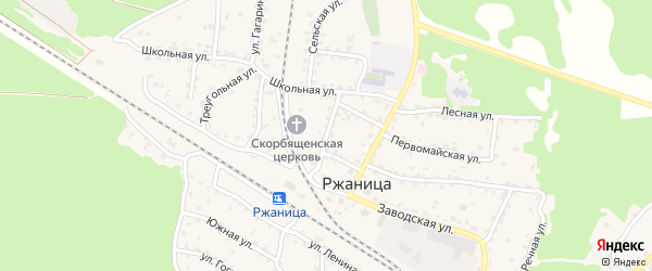 Учительская улица на карте села Ржаницы с номерами домов