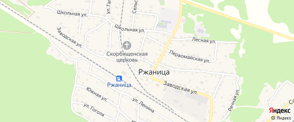 1-й Вокзальный переулок на карте села Ржаницы с номерами домов