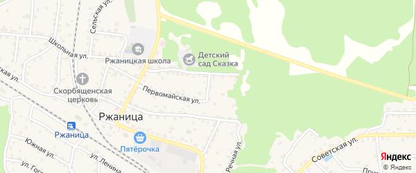 Лесной переулок на карте села Ржаницы с номерами домов