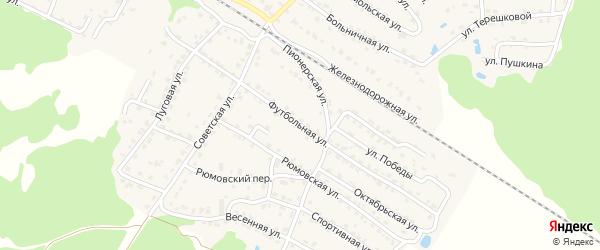 Футбольная улица на карте села Ржаницы с номерами домов