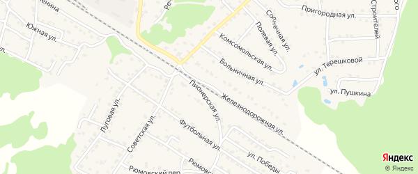 Железнодорожная улица на карте села Ржаницы с номерами домов