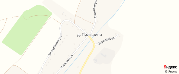 Улица Надежды на карте деревни Пильшино с номерами домов