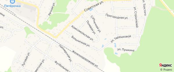 Комсомольская улица на карте села Ржаницы с номерами домов
