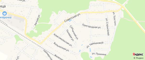 Солнечная улица на карте села Ржаницы с номерами домов