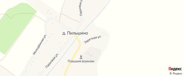 Заречная улица на карте деревни Пильшино с номерами домов