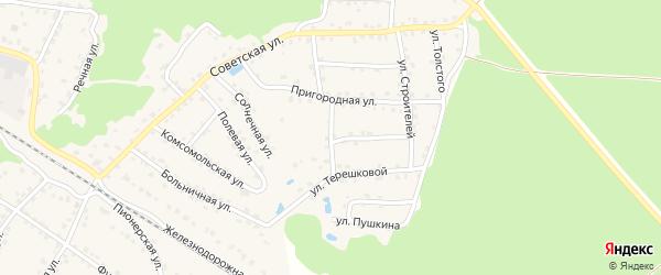Пригородный переулок на карте села Ржаницы с номерами домов