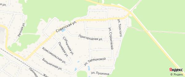 Пригородная улица на карте села Ржаницы с номерами домов