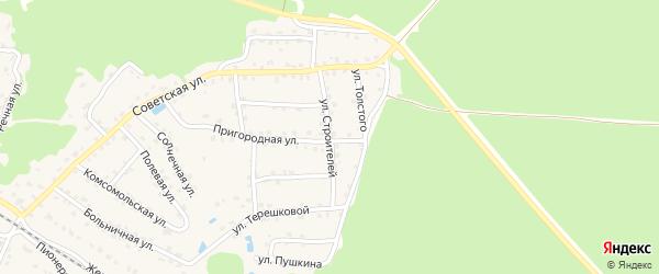 Улица Строителей на карте села Ржаницы с номерами домов