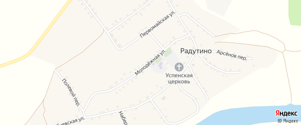 Молодежная улица на карте села Радутино с номерами домов