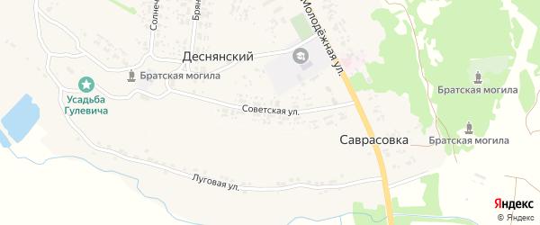 Советская улица на карте Деснянского поселка с номерами домов