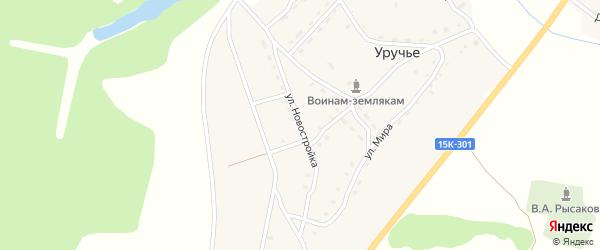 Улица Новостройка на карте села Уручья с номерами домов