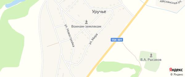 Улица Мира на карте села Уручья с номерами домов
