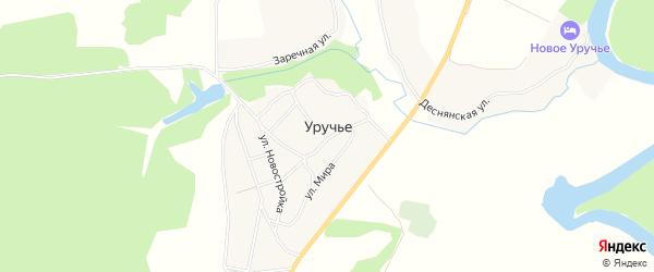 Карта села Уручья в Брянской области с улицами и номерами домов