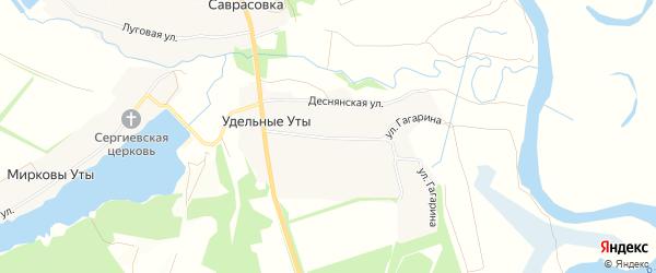 Карта села Удельные Уты в Брянской области с улицами и номерами домов