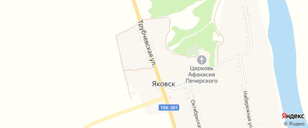 Трубчевская улица на карте деревни Яковска с номерами домов