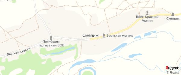 1-й Партизанский переулок на карте деревни Смелижа с номерами домов