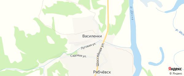 Карта деревни Василенок в Брянской области с улицами и номерами домов