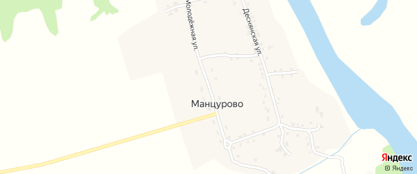 Молодежная улица на карте деревни Манцурово с номерами домов